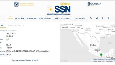 Sismo de 3.6° se registró en San Pedro Pochutla, Oaxaca