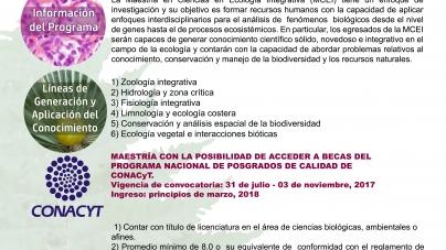 Lista convocatoria para la Maestría en Ciencias en Ecología Integrativa en el INIRENA