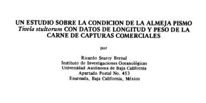 Estudio sobre la condición de la almeja pismo (Tivela stultorum) con datos de longitud y peso de la carne