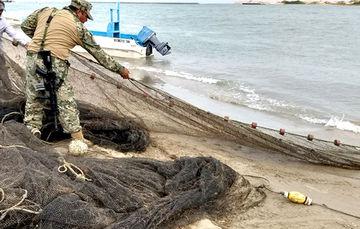"""Aseguran en Tamaulipas """"bolsos de corriente"""" para camarón, que son artes de pesca prohibidas"""