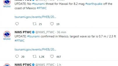 Alerta de tsunami con olas de 4 metros en el Pacífico; réplicas en Salina Cruz, Oaxaca y actualización: Sismo de 8.2