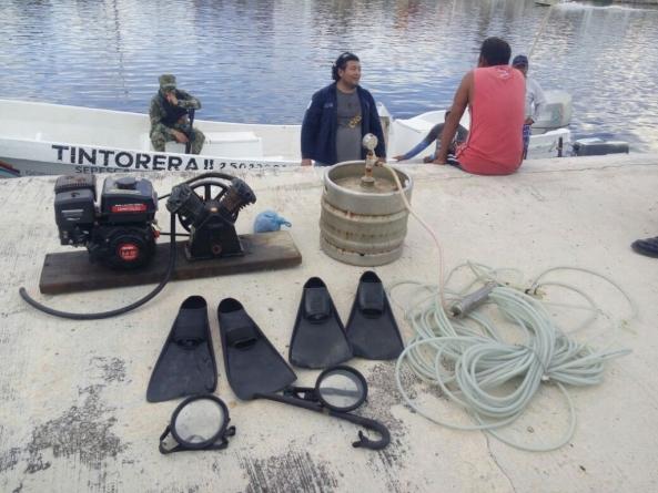 Incautan equipo para pesca, transporte, jurel y pulpo fresco en Campeche
