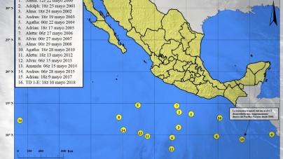 Inició monitoreo de huracanes en México en 2018; Aletta en el Pacífico y Alberto en el Golfo de México, nombre de los primeros