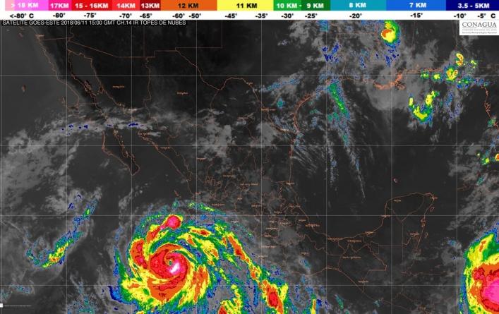 Se prevén tormentas intensas en Nayarit, Jalisco, Michoacán, Colima, Puebla Chiapas y Oaxaca, debido a Bud