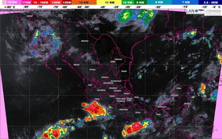 Se prevén tormentas muy fuertes en Sonora, Veracruz, Tabasco, Oaxaca, Chiapas y Campeche