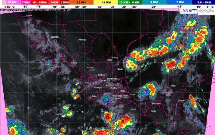 Para las próximas horas se pronostican tormentas intensas en Veracruz, Tabasco, Chiapas, Oaxaca y Guerrero
