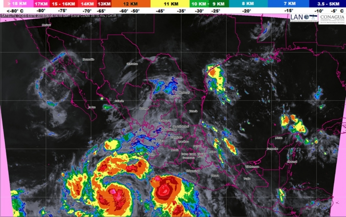 Se prevén tormentas intensas en Guerrero, Oaxaca, Puebla, Veracruz y Chiapas