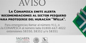 Recomendaciones a pescadores comerciales y deportivos por condiciones adversas del huracán Willa