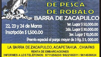 Primer gran torneo de pesca de robalo Barra de Zacapulco