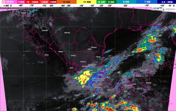 Lluvias intensas, actividad eléctrica y posibles granizadas se pronostican para Veracruz, Tabasco, Oaxaca y Chiapas