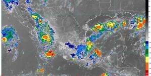 Lluvias muy fuertes con descargas eléctricas y posible granizo se prevén hoy en 10 entidades de México