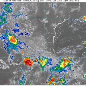 Se prevén lluvias muy fuertes en áreas de Durango, Sinaloa, Nayarit, Jalisco, Michoacán, Guerrero, Oaxaca y Chiapas