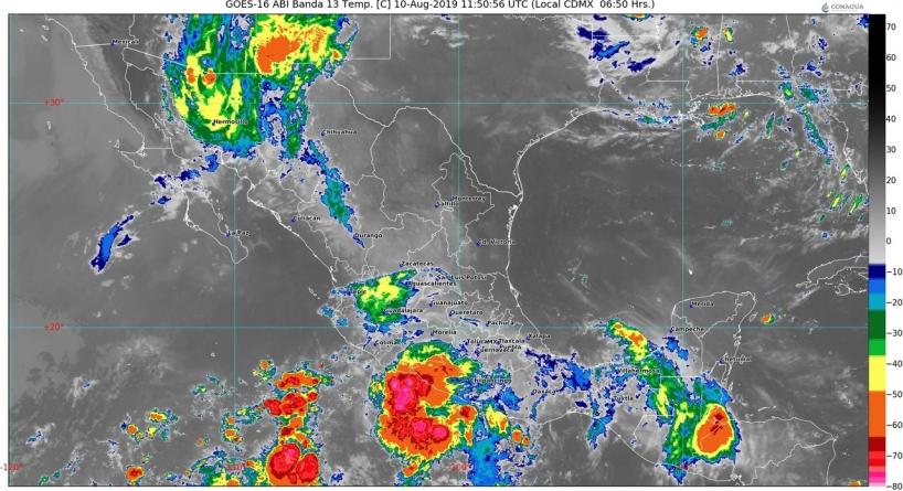 Hoy se prevén lluvias muy fuertes en Sonora, Nayarit, Jalisco, Colima, Guanajuato, Michoacán, Guerrero, Oaxaca y Chiapas