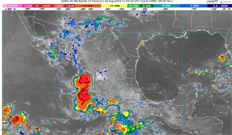 Se pronostica lluvias intensas en Chiapas y puntuales muy fuertes en Sinaloa, Nayarit, Jalisco, Oaxaca y Tabasco