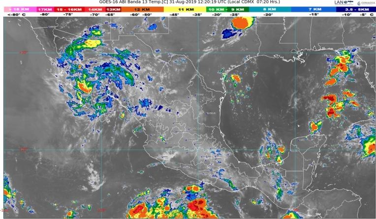 Hoy se prevén lluvias intensas en regiones de Tabasco, Chiapas, Campeche, Yucatán y Quintana Roo