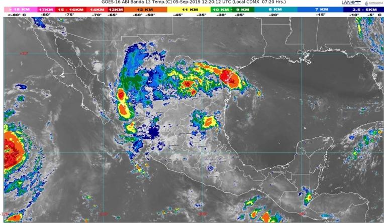 Lluvias intensas se prevén hoy en Coahuila y Nuevo León, y muy fuertes en Chihuahua, Durango, Zacatecas y Chiapas