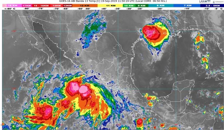 Lorena generará lluvias extraordinarias en Jalisco y Colima, torrenciales en Nayarit e intensas en Michoacán