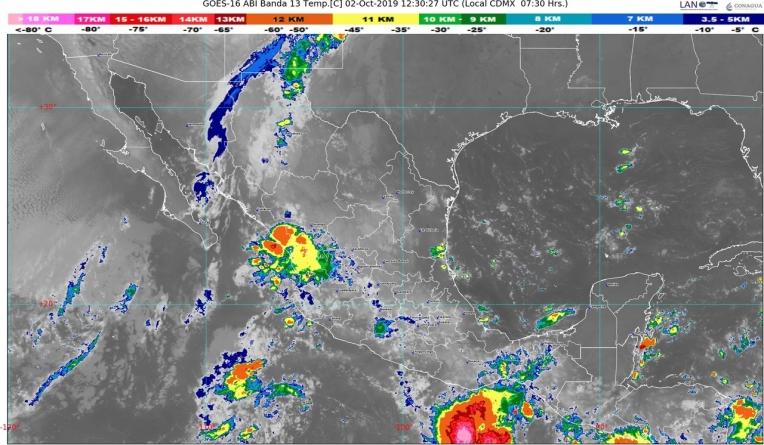 Hoy se prevén lluvias intensas en Michoacán, Oaxaca y Chiapas