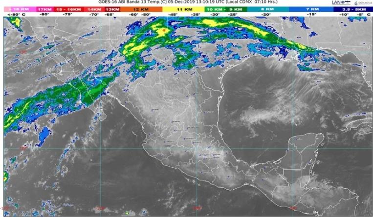Se prevén condiciones meteorológicas estables, cielo despejado y escasa probabilidad de lluvia en la mayor parte de México
