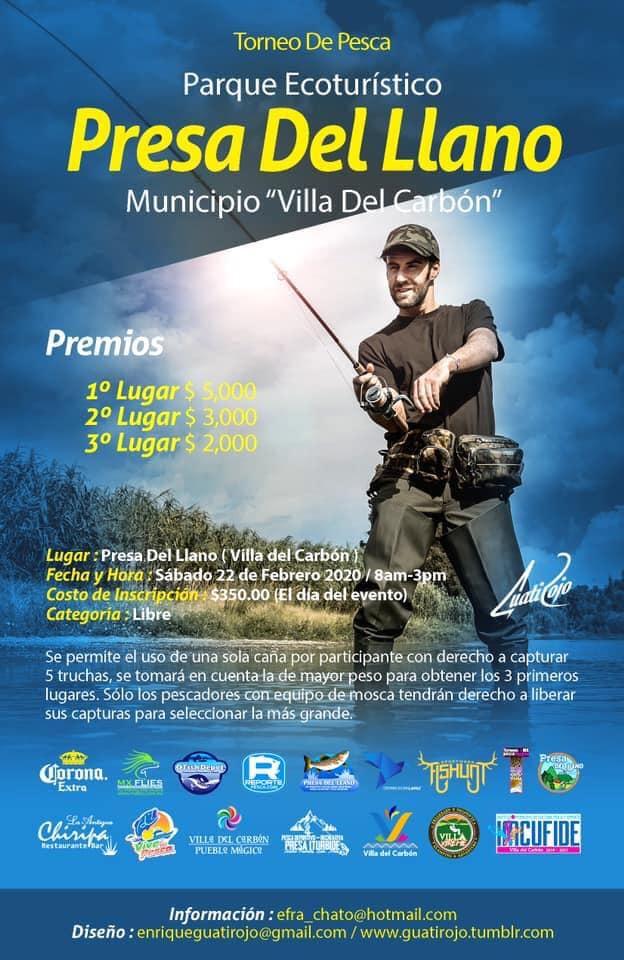 Torneo de pesca en el parque ecoturístico Presa del Llano, en Villas del Carbón, Edo. México