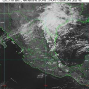 Lluvias y chubascos con descargas eléctricas en el oriente, el centro y el sur de México; temperaturas de entre 40 y 45 °C