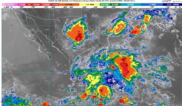 Siguen las lluvias en noreste, oriente, occidente, sur y sureste de México; riesgo de tornados en Coahuila, Nuevo León y Tamaulipas