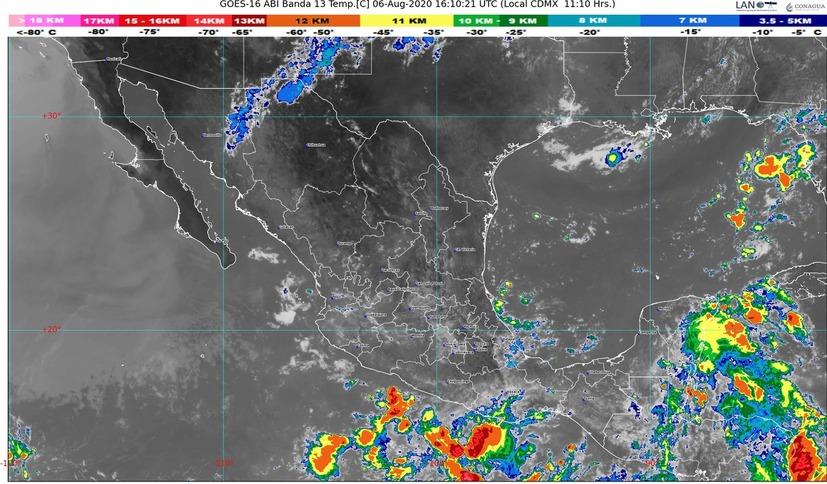 En Campeche, Chiapas y Oaxaca, lluvias intensas con descargas eléctricas y granizadas; temperaturas superiores a 35 °C en 18