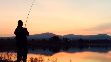 Pesca de lobina, de orilla